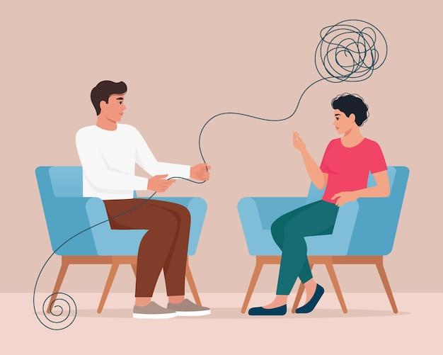 Psychoterapia, problem psychiczny lub ilustracja koncepcja leczenia depresji w płaskiej konstrukcji