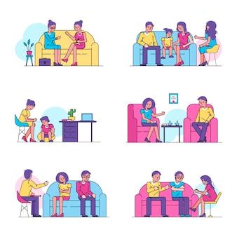 Psychoterapia, psycholog konsultuje ludzi ilustracja na białym tle zestaw pacjentów.