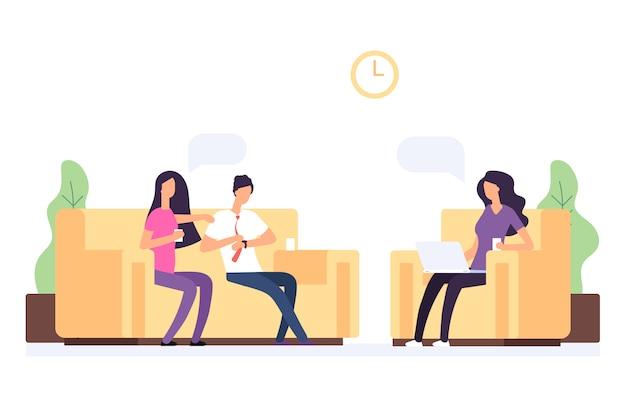 Psychoterapia rodzinna, para w recepcji na ilustracji wektorowych psychologa