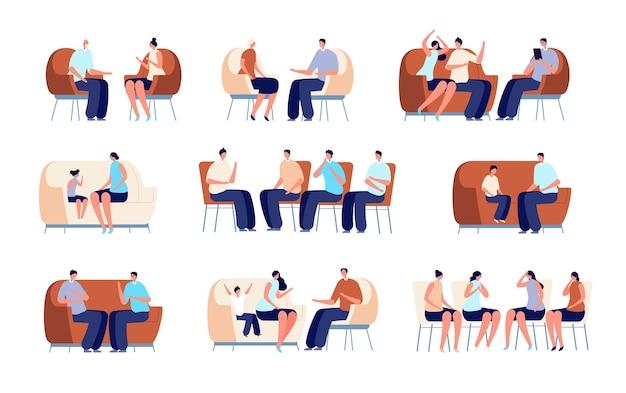 Psychoterapia rodzinna. terapia par, doradztwo psychologa osób. doradca rehabilitacji, ilustracja wektorowa psychologa dla dorosłych dzieci. psychoterapia i terapia psychologiczna, problem psychologiczny