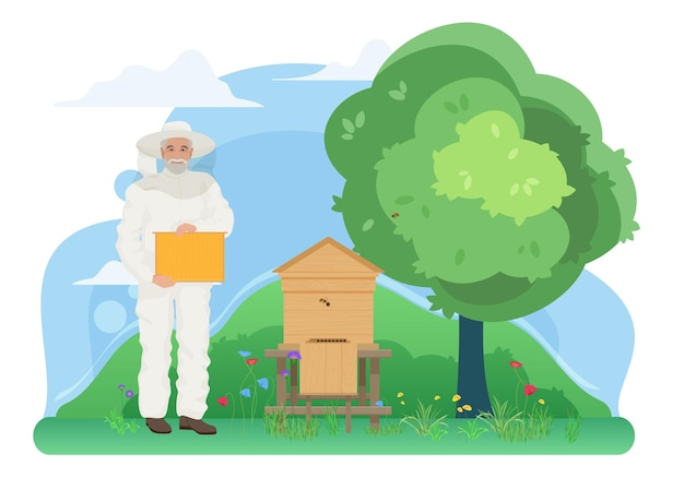 Pszczelarstwo farma pszczelarska praca pasieczna w wiosce starszy pszczelarz posiadający plaster miodu