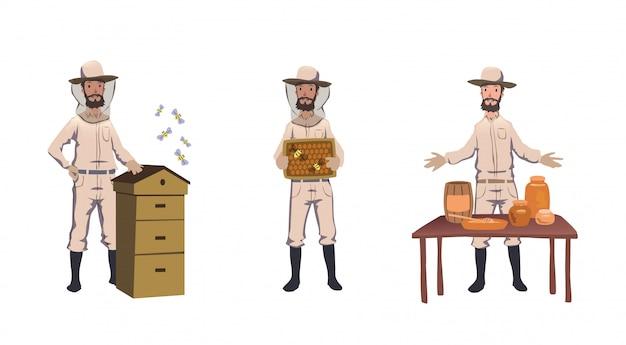 Pszczelarstwo i pszczelarstwo. pszczelarz, ul zbierający miód, zajmujący się pszczołami, sprzedający miód domowej roboty. zestaw znaków. kolorowa ilustracja. na białym tle.
