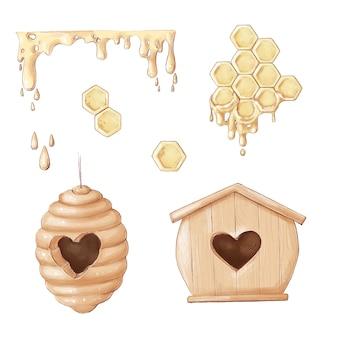Pszczelarstwo na białym tle ikony. zestaw ikon pasieki. pszczelarstwo. pszczoła miodna, słoik, łyżka. ilustracja styl linii płaskiej.