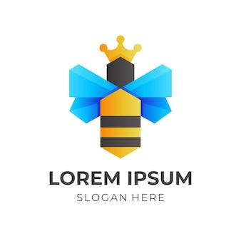 Pszczoła i korona, połączenie logo