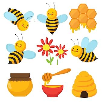 Pszczoła kreskówek. śliczne pszczoły, kwiaty i miód. zestaw znaków na białym tle wektor