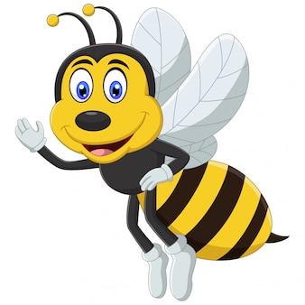 Pszczoła kreskówka macha ręką i uśmiechnięty