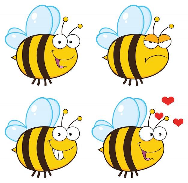Pszczoła kreskówka maskotka zestaw znaków