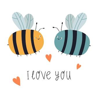 Pszczoła kreskówka z napisem kocham cię płaskie ilustracji wektorowych