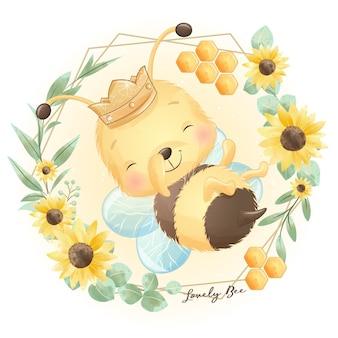 Pszczoła ładny doodle kwiatowy ilustracji