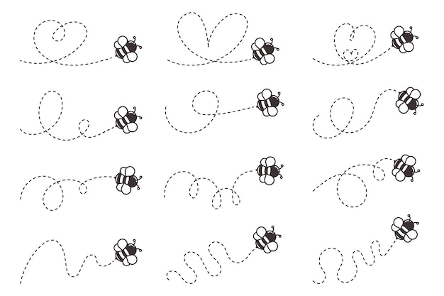 Pszczoła latająca ścieżka. pszczoła leci w linii kropki w kształcie serca na białym tle.