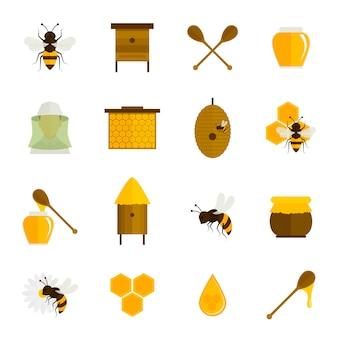 Pszczoła miód płaski zestaw ikon