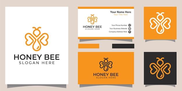Pszczoła miodna w stylu linii sztuki z koncepcją logo kropli i projekt tożsamości