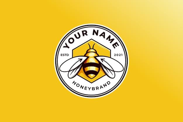 Pszczoła miodna z ilustracją logo strzałki najlepiej do projektowania etykiet