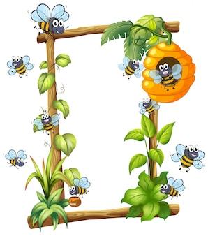 Pszczoła na drewnianej ramie