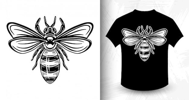Pszczoła. nadruk koszulki w stylu monochromatycznym vintage.
