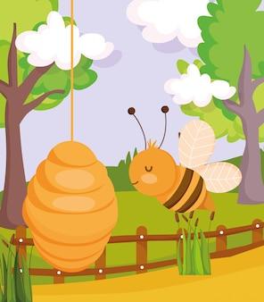 Pszczoła o strukturze plastra miodu płot drzewa rośliny zwierząt gospodarskich kreskówka ilustracja