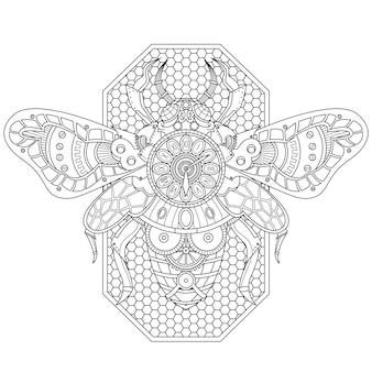 Pszczoła steampunk ilustracja styl liniowy