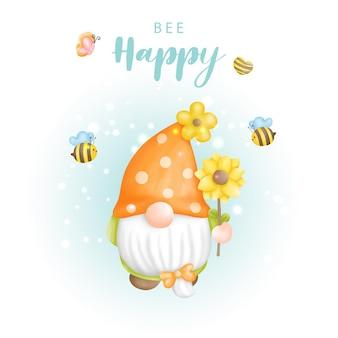 Pszczoła szczęśliwy gnom akwarela