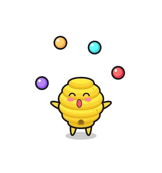 Pszczoła ula cyrk kreskówka żonglująca piłką, ładny design