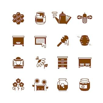 Pszczoła ula, miód, wektorowe ikony o strukturze plastra miodu