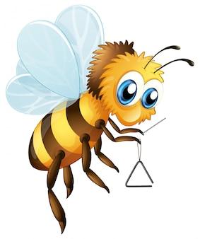 Pszczoła z trójkątnym instrumentem muzycznym
