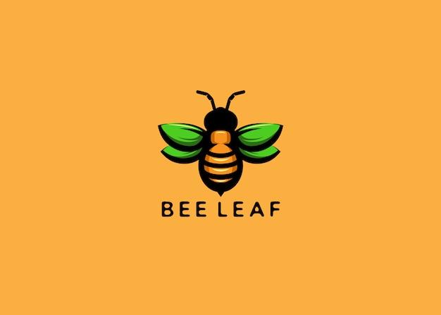 Pszczoła z zielonym liściem logo