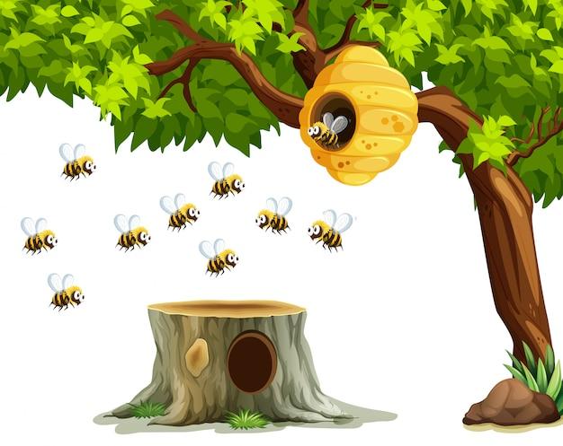 Pszczoły latające wokół ula na drzewie