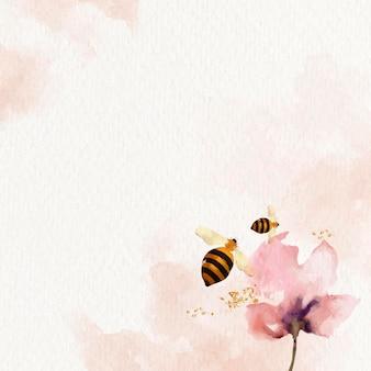 Pszczoły miodne i kwiat tle akwarela