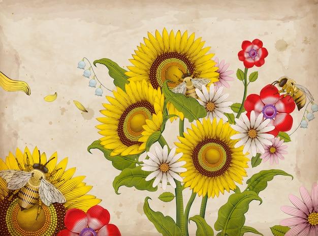 Pszczoły miodne i kwiaty, retro ręcznie rysowane trawienie elementy stylu cieniowania, kolorowe tło kwiatowy ogród