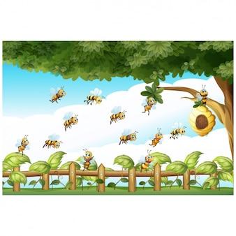 Pszczoły tła projektowania