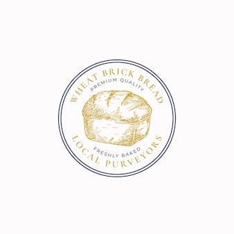 Pszenica cegła chleb rama odznaka lub szablon logo. ręcznie rysowane bochenek szkicu z retro typografii i obramowania. godło sześciokątne premium. odosobniony.