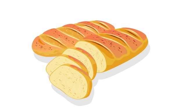Pszenny chleb francuski na białym tle