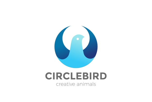 Ptak abstrakcyjny kształt koła logo ikona.