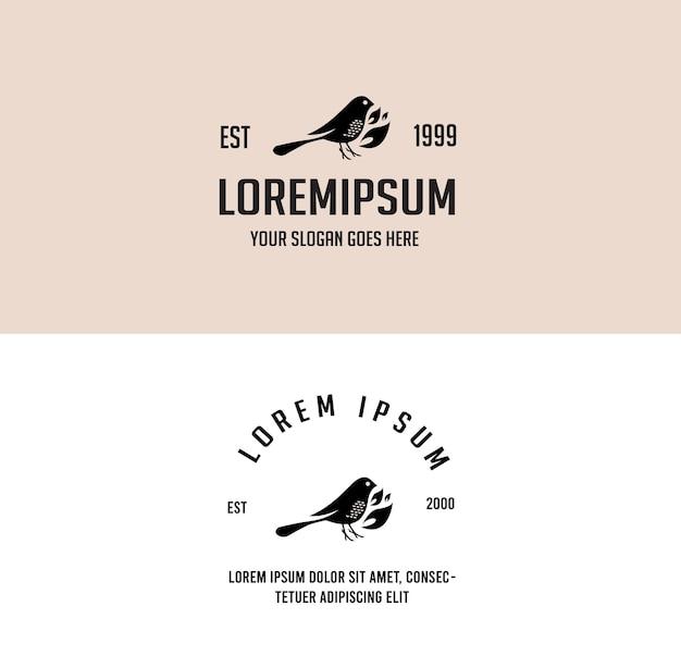 Ptak eko zwierzę proste dzikie vintage monoline logo