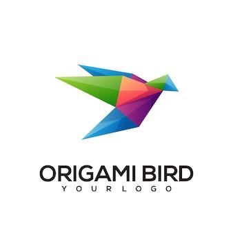 Ptak geometryczne logo kolorowa ilustracja