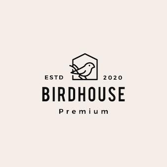 Ptak house hipster vintage logo ikona ilustracja