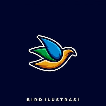 Ptak kreskowy kolorowy ilustracyjny wektorowy szablon