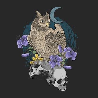 Ptak kwiatowy sowa z koszmarem czaszki