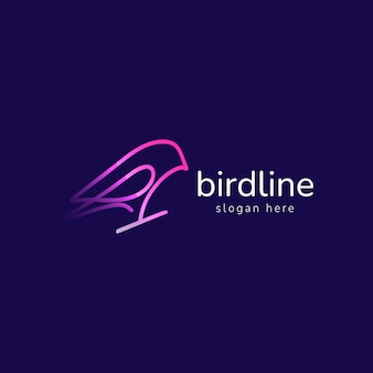 Ptak logo firmy wektor monoline prosty