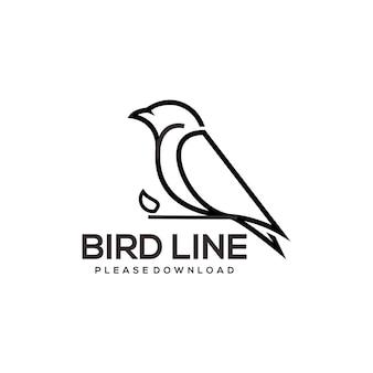Ptak logo linii sztuki retro ilustracja