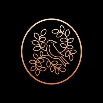 Ptak na gniazdo natura pozostawia logo