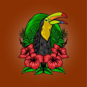 Ptak na ilustracji tropikalnego kwiatu