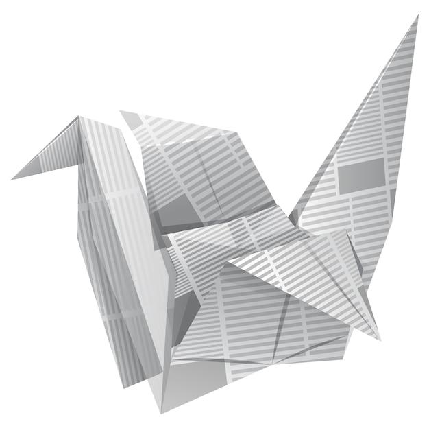 Ptak origami na białym tle