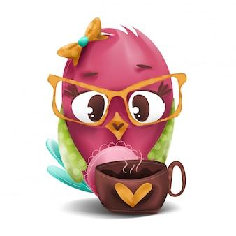 Ptak pije kawę
