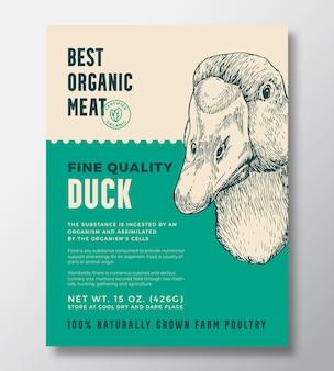 Ptak portret ekologiczne mięso streszczenie wektor wzór opakowania lub szablon etykiety hodowlane drobiu zakaz...