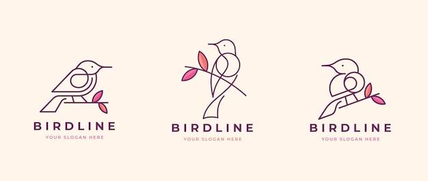 Ptak przysiadł na projekt logo gałęzi drzewa
