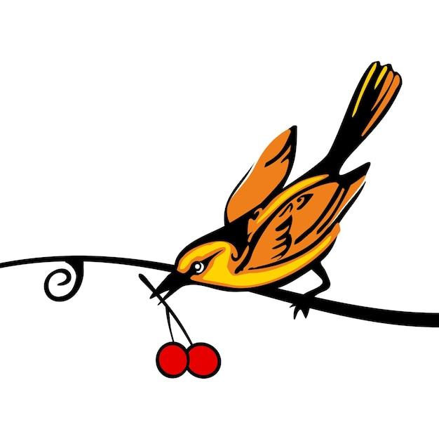 Ptak siedzący na gałęzi i trzymający jagodę. wektor płaski ikona kolor na białym tle.