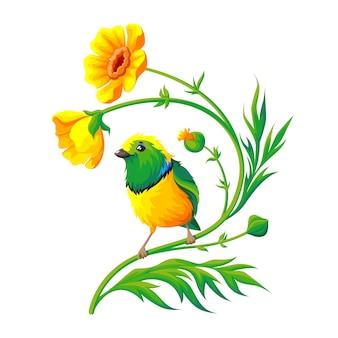 Ptak siedzi na żółtym kwiatku.