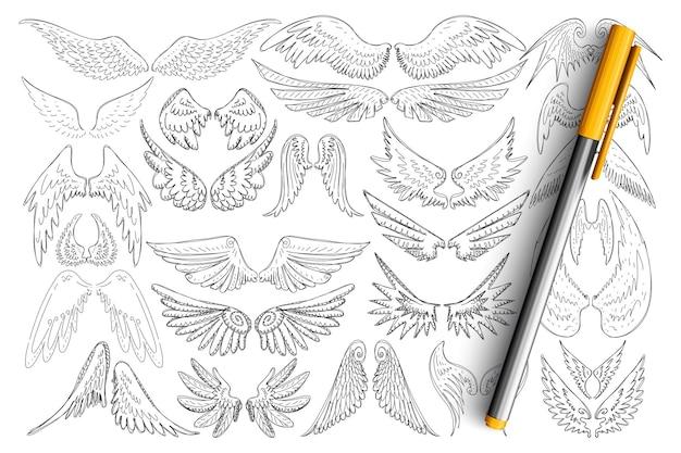 Ptak skrzydła wzory doodle zestaw. kolekcja ręcznie rysowane eleganckie skrzydła różnych ptaków w stylu tatuaż na białym tle.