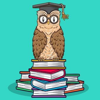 Ptak sowa zwierzę siedząca na ilustracji książek